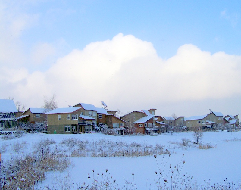 Snowy Ecovillage Scenery